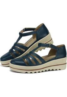 Sandália Plataforma Em Couro Sapatofran Com Velcro Feminina - Feminino-Azul