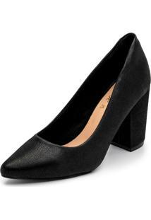 Sapato Scarpin Salto Alto Grosso Em Nobucado Preto