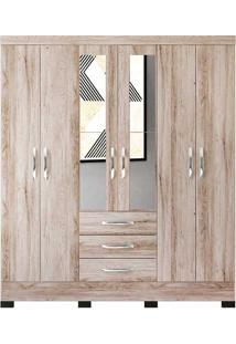 Guarda Roupa Casal Barcelona 6 Portas Com Espelho - Colibri - Castanha Rústico / Branco Neve