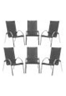 Cadeiras 6Un Para Area Varanda Fibra Sintetica Sala Cozinha Jardim Sacada Garden - Preto