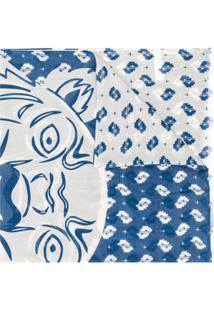 Kenzo Echarpe Com Logo Bordado - Azul