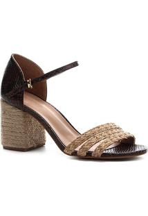 Sandália Couro Shoestock Salto Médio Snake Corda Feminina - Feminino-Marrom