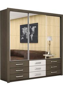 Guarda Roupa Casal Com Espelhos 3 Portas De Correr Anjos Premium Siena Móveis Malbec/Roveri