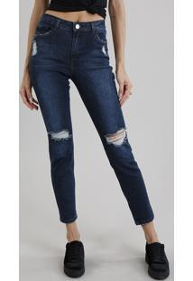 Calça Jeans Feminina Cigarrete Com Rasgos Azul Escuro