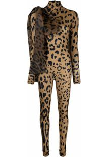 Atu Body Couture Macacão Com Cinto E Animal Print - Neutro
