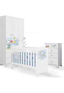 Quarto De Bebê Ursinho Com Berço + Cõmoda 4 Gavetas + Guarda Roupa 3 Portas Branco Móveis Estrela