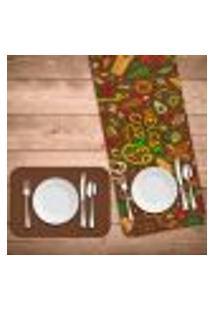 Jogo Americano Com Caminho De Mesa Mexican Cuisne Kit Com 4 Pçs + 1 Trilho