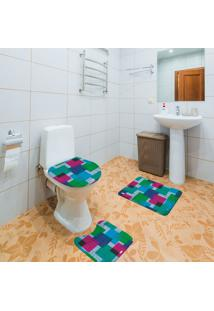 Jogo De Banheiro Goemétrico Azul Único