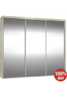 Guarda Roupa 3 Portas De Espelho 100% Mdf 1986E3 Marfim Areia - Foscarini