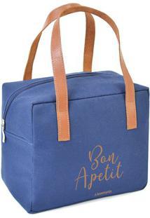"""Bolsa Térmica """"Bon Apetit""""- Azul & Marrom Claro- 22Xboxmania"""