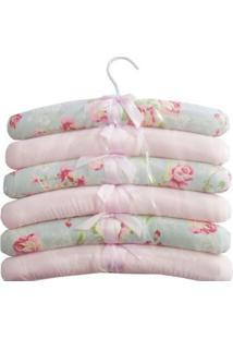 Kit 6Pçs Cabides Ursa Realeza Floral Laura Baby Azul Claro E Rosa