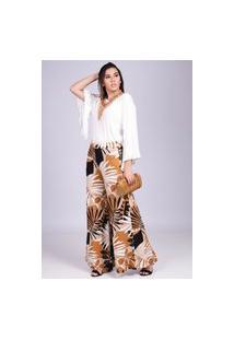 Calça Pantalona Amazonia Vital Malha Estampa Folhagens No Outono