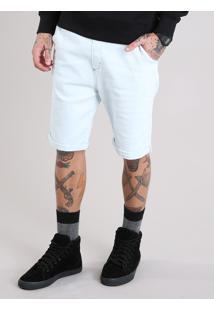 Bermuda Jeans Masculina Reta Com Cordão Azul Claro