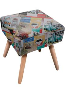 Puff Ibiza Quadrado Estampado Carros Antigos D102 - D'Rossi