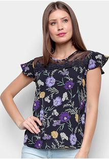 Blusa Ms Fashion Tule Bordado Floral Feminina - Feminino-Preto