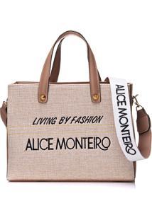 Bolsa Alice Monteiro Bordado Frase Nude