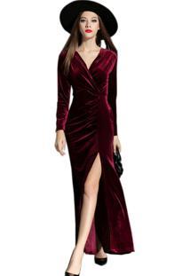7fd8655dbc Vestido Veludo Vinho feminino