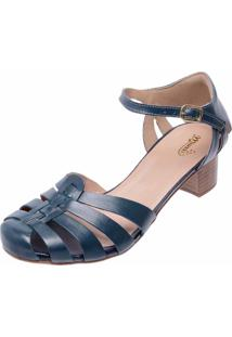 Sandália Retrô De Salto Touro Boots Feminina Marinho - Kanui