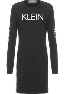 Vestido Ckj Logo Calvin Klein Jeans - Preto