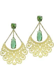 Brinco Banho De Ouro Longo De Cristal E Arabesco - Feminino-Verde