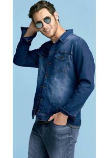 Jaqueta Jeans Masculina Em Algodão Com Lavação Clara