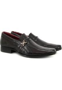 Sapato Social Vicarello Bico Quadrado Masculino - Masculino-Marrom