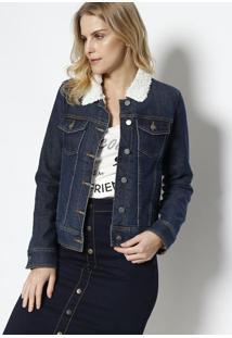 Jaqueta Jeans Com Pelúcia - Azul & Branco - Malweemalwee