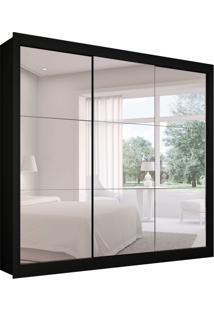 Guarda-Roupa Casal Master Com 3 Espelhos 3 Pt 2 Gv Preto