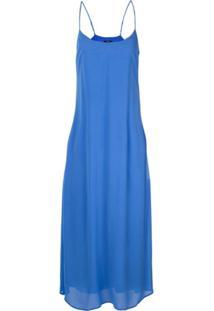 Polo Ralph Lauren Vestido Midi Com Alças Finas - Azul