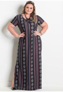 Vestido Longo Com Fenda Étnico Marguerite