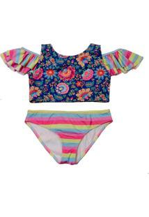 Biquíni Infantil Babado Ombro Cuba Proteção Uv Spring Blossom - Banho Maria