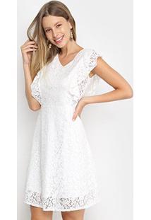 Vestido Pérola Evasê Curto Renda - Feminino-Branco