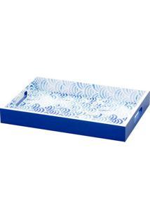Bandeja Em Madeira Com Alça Waves 35X25Cm - Lyor Classic - Azul