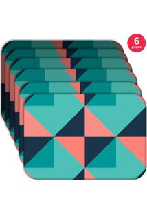 Jogo Americano Love Decor Wevans Abstrato Colorful Kit Com 6 Pçs