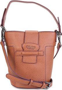Bolsa Colcci Mini Bag Balde Passante Feminina - Feminino-Caramelo