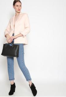 Blazer Texturizado Com Bolso- Rosa Claro- Ahaaha