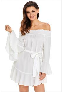 Vestido Curto Ombro A Ombro Manga Sino - Branco M