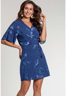 Vestido Tecido Rayon Bali Azul