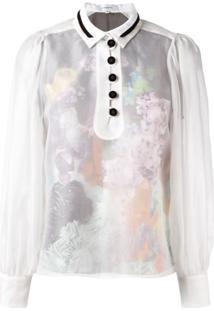 Carven Blusa Translúcida Com Botões - Branco