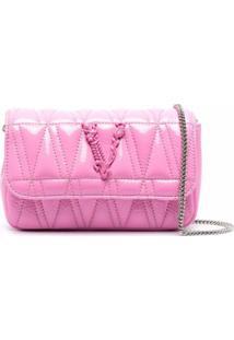 Versace Bolsa Tiracolo Matelassê Com Placa De Logo - Rosa