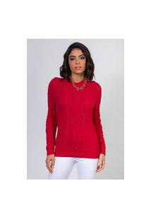 Blusa Myah Jade Rose Red Em Tricô