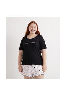 Pijama Curto Em Viscose Com Bordado E Estampa Curve & Plus Size | Ashua Curve E Plus Size | Preto | G1