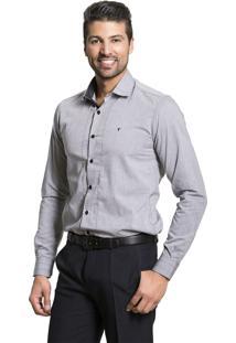 Camisa Tony Menswear Com Pesponto Cinza