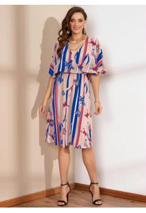 Vestido Floral Rosê Decote Transpassado