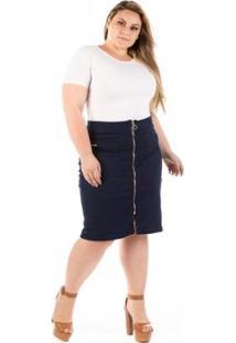 Saia Jeans Midi Com Zíper Frontal Plus Size - Feminino-Azul