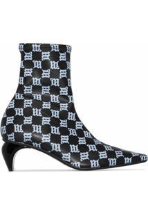 Misbhv Ankle Boot Sqaure Slicer De Couro Com Monograma E Salto 45Mm - Preto