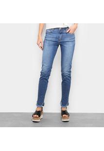 Calça Jeans Forum Estonada Barra Desfiada Cintura Média Feminina - Feminino-Azul