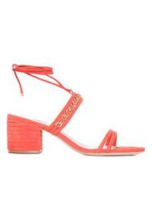 Sandália Feminina Block Heel Texture - Laranja