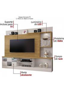 Estante Home Theater Para Tv Até 65 Polegadas Dinamarca Espelho Plus Mavaular Off White/ Damasco