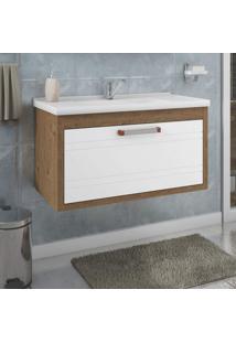 Gabinete De Banheiro 1 Cuba Porta Basculante E Gaveta Interna Jade 79 Cm Mgm Móveis Amêndoa/Branco